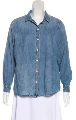 The Great Chambray Button-Up Blouse