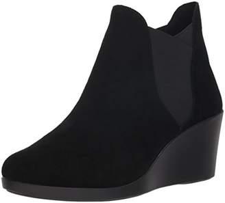 7b00527dfa6 Black Stretch Suede Wedge Boots - ShopStyle