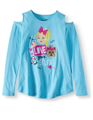 "Jo-Jo JoJo Siwa ""Love Your Selfie"" Cold Shoulder Long Sleeve T-Shirt (Little Girls & Big Girls)"