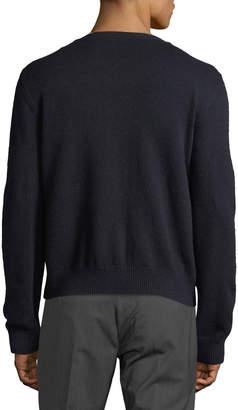 Valentino Men's Suede-Front Cashmere V-Neck Cardigan