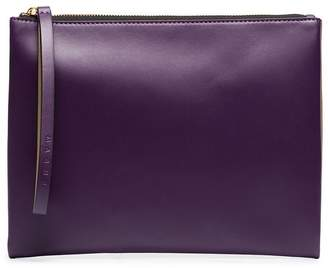Marni tan and purple colour block leather pouch