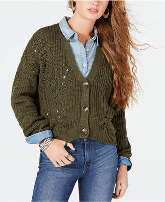 Ultra Flirt By Ikeddi Juniors' Cropped Cardigan Sweater