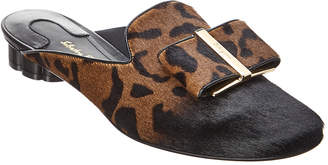 Salvatore Ferragamo Sciacca Flower Heel Leather Mule