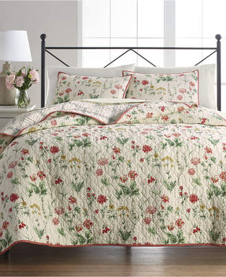 Martha Stewart Collection Washed Floral 100% Cotton Reversible Twin Quilt