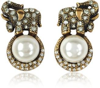 Alcozer & J Elephant Earrings w/Pearls