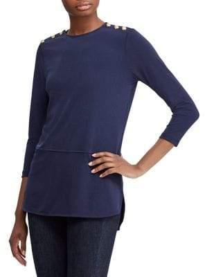 Lauren Ralph Lauren Petite Button-Trimmed Jersey Top