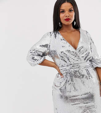 TFNC Plus Plus sequin wrap front mini dress in silver