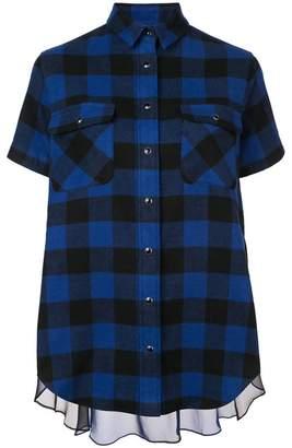 Sacai Sheer Panel Plaid Short Sleeve Shirt