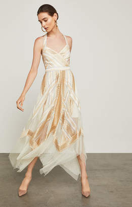 BCBGMAXAZRIA Metallic Striped Handkerchief Dress