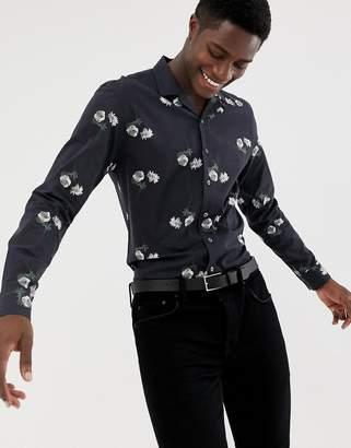 Moss Bros skinny fit revere collar shirt in dark floral print