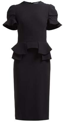 Alexander McQueen Peplum Waist Crepe Dress - Womens - Black