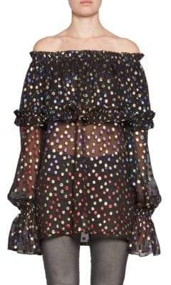 Saint Laurent Off-The-Shoulder Ruffle Polka-Dot Top