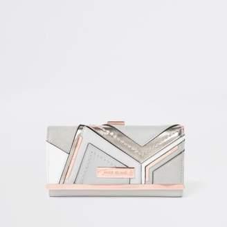 River Island Grey metallic cutabout clip top purse