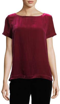 Eileen Fisher Short-Sleeve Bateau-Neck Velvet Top