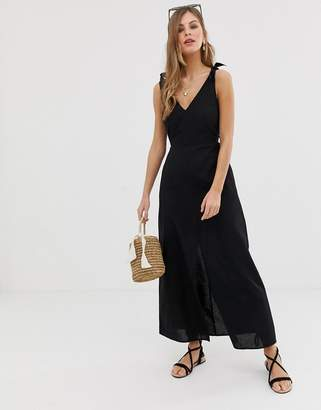 Asos Design DESIGN tie back linen maxi dress