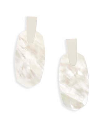 Kendra Scott Aragon Bright Silver Drop Earrings in Ivory Pearl