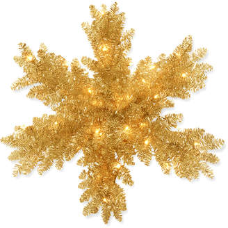 National Tree 32In Champagne Gold Tinsel Snowflake W/ 35 Warm White Battery Operated Led Lights & Timer