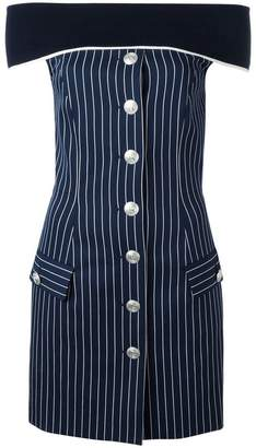 Pierre Balmain pinstripe off-shoulder dress