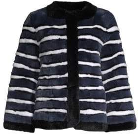 Pologeorgis Stripe Rabbit Fur Jacket