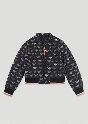 Emporio Armani Padded Bomber Jacket With Logo Pattern Outer Fabric
