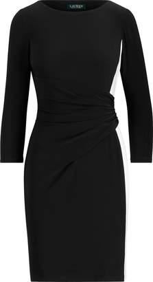 Ralph Lauren Shirred Two-Tone Jersey Dress