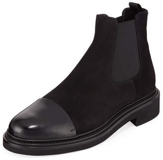 Giorgio Armani Men's Vachetta Leather/Suede Chelsea Boots