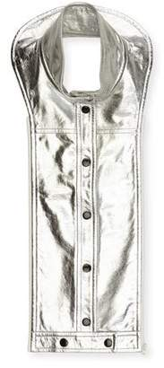 Veronica Beard Rocco Metallic Leather Snap-Front Dickey