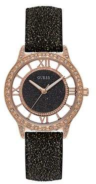 GUESS Textured Stainless Steel Leather-Strap Watch