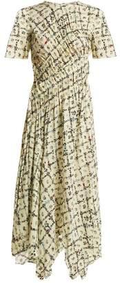 Preen Line - Keziah Floral Print Handkerchief Hem Midi Dress - Womens - Ivory Multi