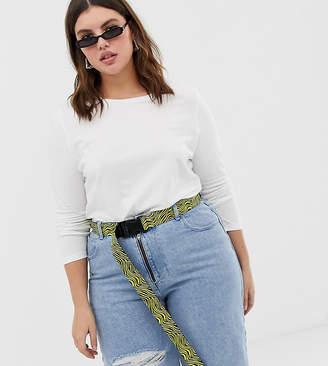 Asos DESIGN Curve neon zebra print waist and hip utility buckle belt
