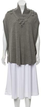 ALICE by Temperley Wool-Blend Surplice Poncho Grey Wool-Blend Surplice Poncho