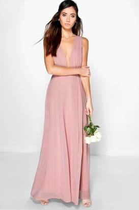 boohoo Wrap Front Chiffon Maxi Dress