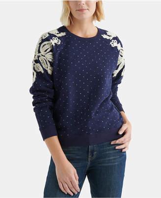 Lucky Brand Cotton Chenille-Patterned Polka-Dot Sweatshirt