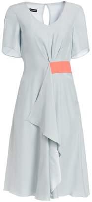 Emporio Armani Gathered Silk A-Line Dress