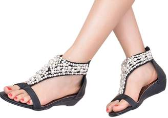 Tenworld Women Wedding Party Flower Beaded Drops Shoes Flip-flop Sandals