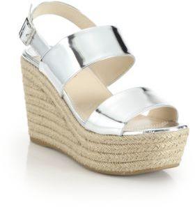 Prada Patent Metallic Leather Espadrille Wedge Sandals