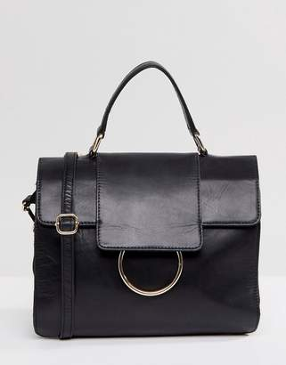 Urban Code Urbancode Large Foldover Leather Messenger Bag with Ring Detail
