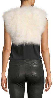 Adrienne Landau Marabou-Feather Cropped Vest
