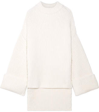 Oversized Ribbed Wool-blend Sweater - Cream