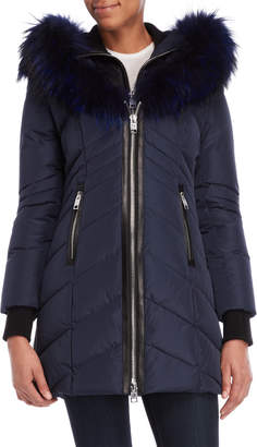 Nb Series By Nicole Benisti Solden Real Fur Bibbed Down Coat