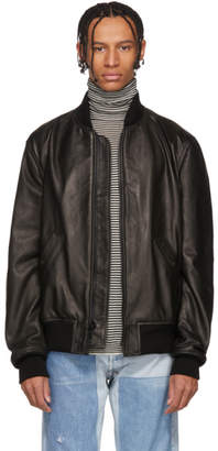 Schott Black Leather MA-1 Bomber Jacket