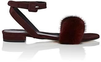 Barneys New York Women's Suede & Fur Ankle-Wrap Sandals