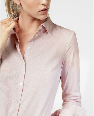 Express Fitted Striped Full Button Front Shirt