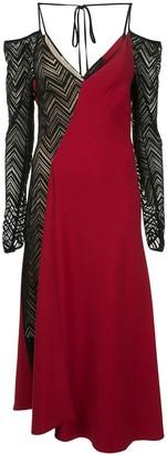 Roland Mouret cold-shoulder knit-panelled crepe dress