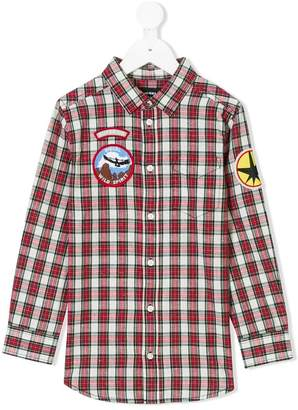 Diesel patch checked shirt