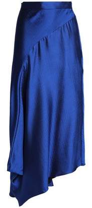 Roksanda Asymmetric Wool-Blend Satin Midi Skirt