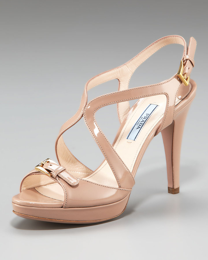 Prada Patent Multi-Strap Sandal with Buckle