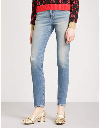 Gucci Cat-patch distressed skinny high-rise jeans