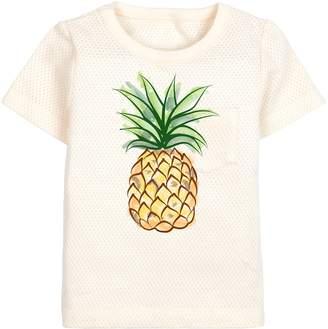 Dordor & Gorgor Organic Cotton Unisex Baby Short Sleeve Tee Shirt Top, All Natural Dye-Free, Pineapple 18M