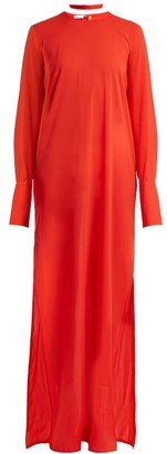 Summa - Round Neck Silk Maxi Dress - Womens - Red